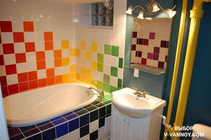 Дизайн ванной в ярких тонах «а — я»: от выбора шторок до подбора сантехники
