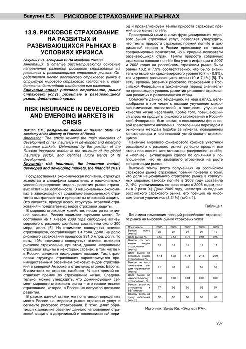Страховой рынок россии в 1 полугодии 2009 года остался под влиянием финансового кризиса